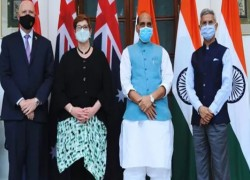 INDIA, AUSTRALIA HOLD 2+2 DIALOGUE, JAISHANKAR WELCOMES PAYNE WITH FIST BUMP
